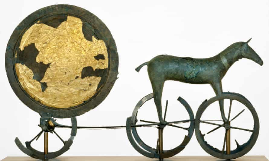 A replica of the Trundholm sun chariot, which the National Museum of Denmark says dates back to 1,400BC.