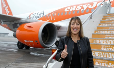 EasyJet chief executive Carolyn McCall thumbs up in front of an easyJet plane during the inauguration ceremony of their new base at Venice airport