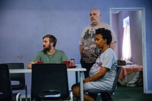 Luke Clarke, Nick Holder and Janet Etuk star as Dean, Colin and Emma in Love, a play about the reality of living in temporary accommodation