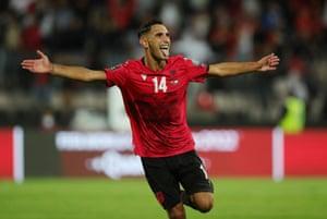 Albania's Qazim Laci celebrates scoring their second goal.