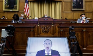 Facebook's Mark Zuckerberg appears by video during a US house judiciary subcommittee hearing, 'Online Platforms and Market Power' in Washington, 29 July.