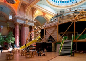 View of the Royal Exchange's distinctive 'lunar module' exterior, situated within a former commodity exchange.