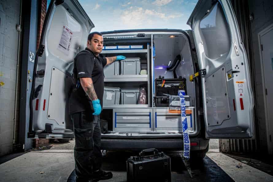 Lab on wheels ... Drew Birtles in his forensics van.
