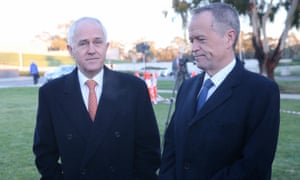 Malcolm Turnbull and Bill Shorten do the rounds of the temporary TV studios on the front lawn of Parliament House