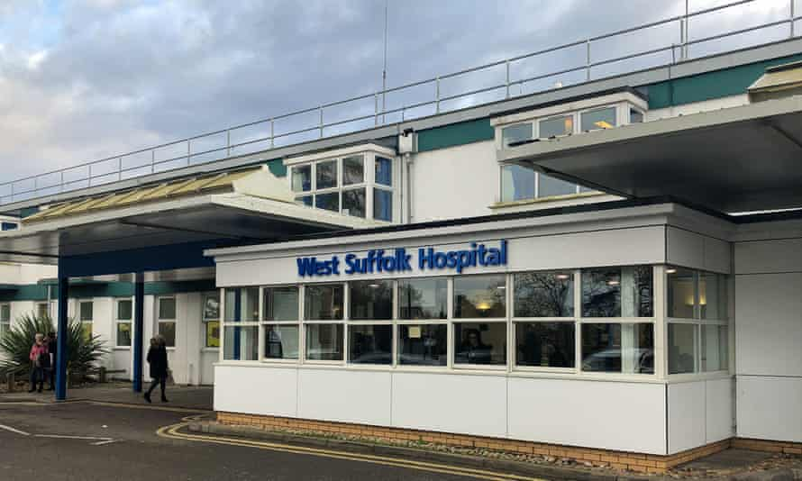 Entrance to West Suffolk hospital in Bury St Edmunds