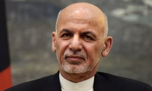 Ashraf Ghani attends a press conference at the presidential palace in Kabul