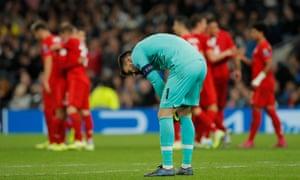 Tottenham goalkeeper Hugo Lloris looks depressed after Serge Gnabry scored his hat-trick and Bayern Munich's fifth goal.