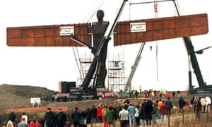 Construction of The Angel of the North proceeds in 1999.