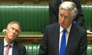 Michael Fallon, secretary of state for defence,  speaks in the House of Commons