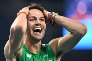 Ireland's Thomas Barr reacts after qualifying for the 400m final.