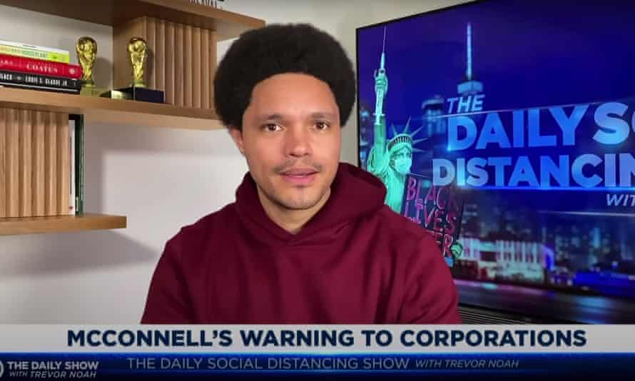Trevor Noah to Mitch McConnell: 'After you spent decades helping companies intervene in politics, you can't now be upset that companies want to now intervene in politics.'