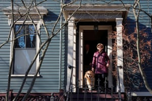 Democratic 2020 U.S. presidential candidate and U.S. Senator Elizabeth Warren (D-MA) and her dog Bailey leave their house to vote on Super Tuesday in Cambridge, Massachusetts.