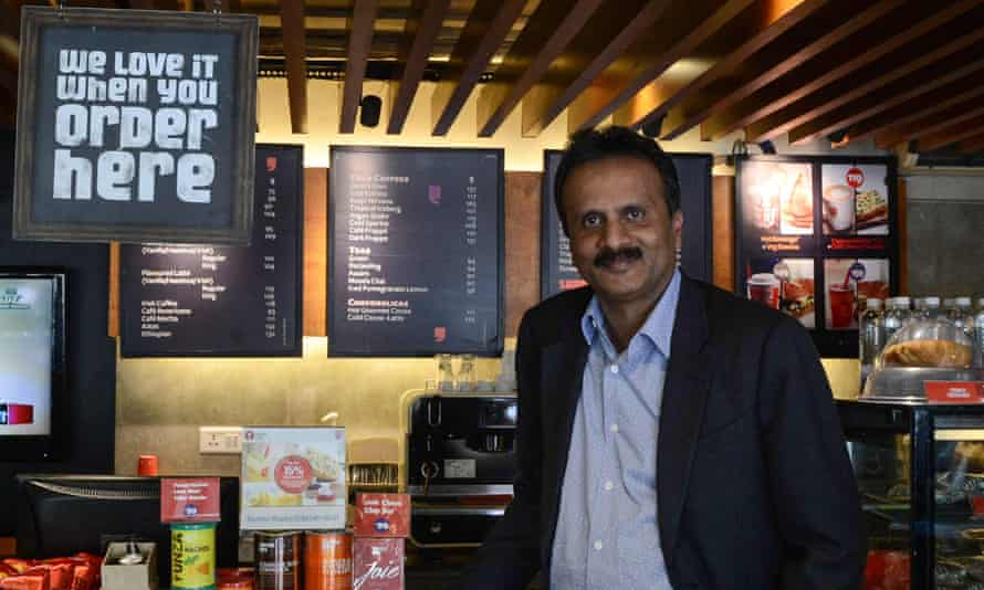 VG Siddhartha in one of his Cafe Coffee Day shops in Ahmedabad, Gujarat state, India.