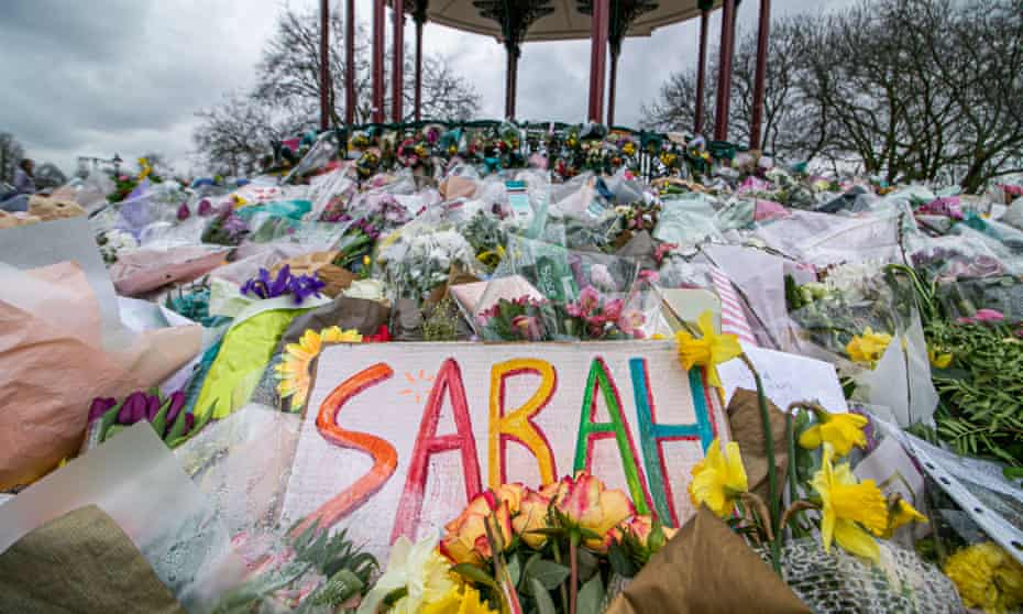 Messages and flowers left at a makeshift memorial for Sarah Everard on Clapham Common in London