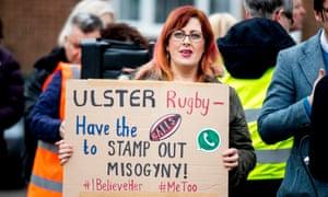 Belfast Feminist Network activists protest outside the Kingspan stadium in Belfast, April 2018