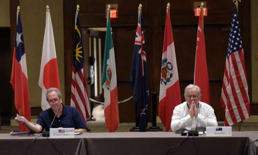 US trade representative Michael Froman and Andrew Robb at the TPP meetings in Maui, Hawaii, which have failed to reach an agreement.