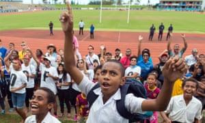 Fijians celebrating the win