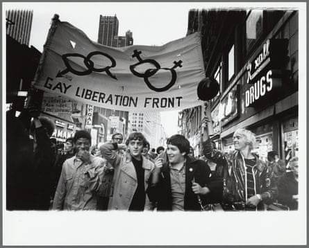 Gay Liberation Front marches on Times Square, New York City, 1969