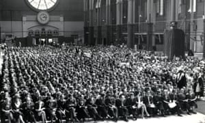 The first Open University graduation ceremony, at Alexandra Palace in London, 1973.