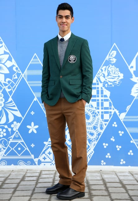 Australian short track speed skater Pierre Boda poses in the formal uniform from Sochi 2014.