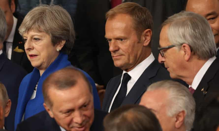 Theresa May stands next to Donald Tusk, president of the European council