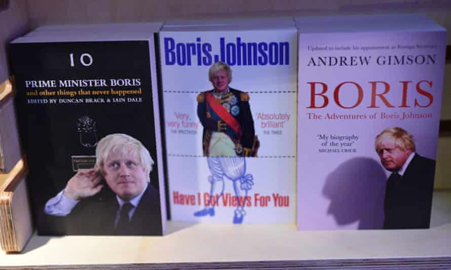 Books by and about Boris Johnson at a bookshop in Birmingham.