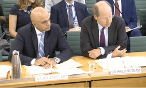 Sajid Javid and Sir Philip Rutnam appear before the home affairs committee