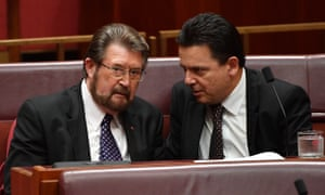 Derryn Hinch and Nick Xenophon in the Senate earlier this month.