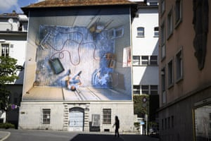 Vevey, SwitzerlandA gigantic photograph by Teresa Hubbard is displayed on the exterior of a building as part of Festival Images Vevey, an outdoor and indoor photographic exhibition in September
