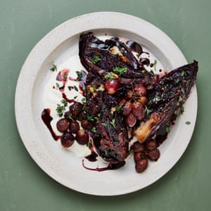Yotam Ottolenghi's grilled red cabbage with gorgonzola and grapes.