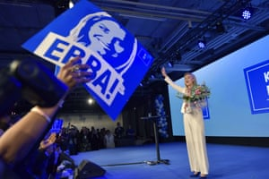 The Christian Democrats party leader Ebba Busch Thor speaks at the election party in Stockholm