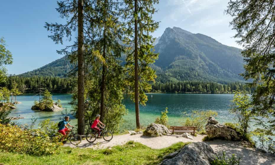Berchtesgaden National Park - Hintersee Lake - Couple taking a break at Hintersee, Bavaria