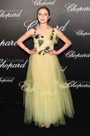 Bel Powley in floral Gucci with a tulle skirt