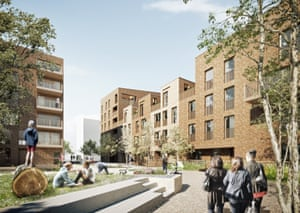 Architects' visualisation of a neighbourhood street within Colville estate