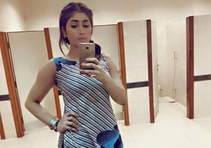 Pakistani social media star Qandeel Baloch taking a selfie