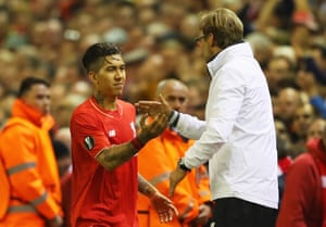 Jurgen Klopps shakes the hand of the impressive Roberto Firmino who was involved in all three goals.