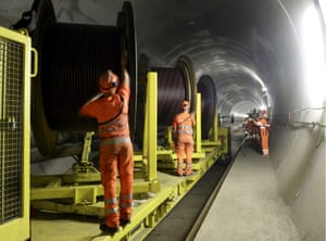 Under construction: workers building the Gotthard base tunnel between Biasca and Amsteg, Switzerland, in 2013.