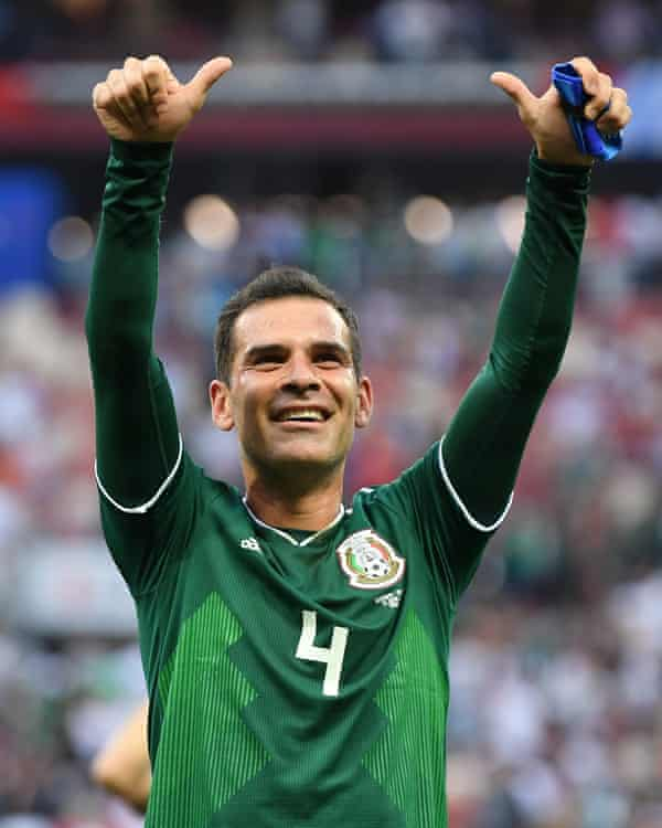 Rafael Márquez celebrates beating Germany in Mexico's opening game of the World Cup