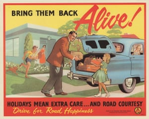 The relative affluence of the postwar period in Australia saw a rise in the sales of cars, their use for leisure, and road traffic accidents. During the 1950s, the Australian Road Safety Council launched a campaign to promote road courtesy, and urged fathers to bring their children 'back alive'.