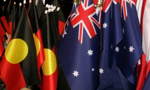 Small Aboriginal and Australian flags on sale at a shop in Perth
