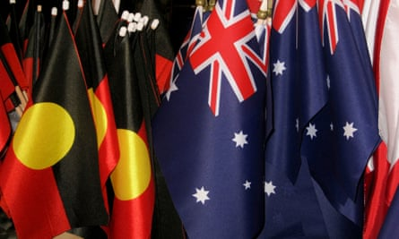 Indigenous flags and Australian flags