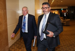 Non-executive directors John Poynton, left, and Andrew Demetriou in 2019. Both men have resigned in recent weeks.