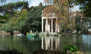 The boating lake and the Temple in the gardens of the Villa Borghese.
