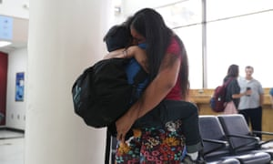 Dunia is reunited with her five-year-old son Wilman at in Texas