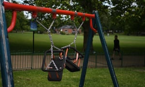 A picture shows swings tied up in a children's playground in the Highfields area of Leicester, central England on July 17, 2020, as local lockdown restrictions were in force.