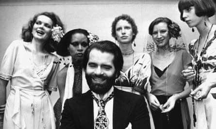 Karl Lagerfeld with the Golden Spinning Wheel, which he won in 1973.