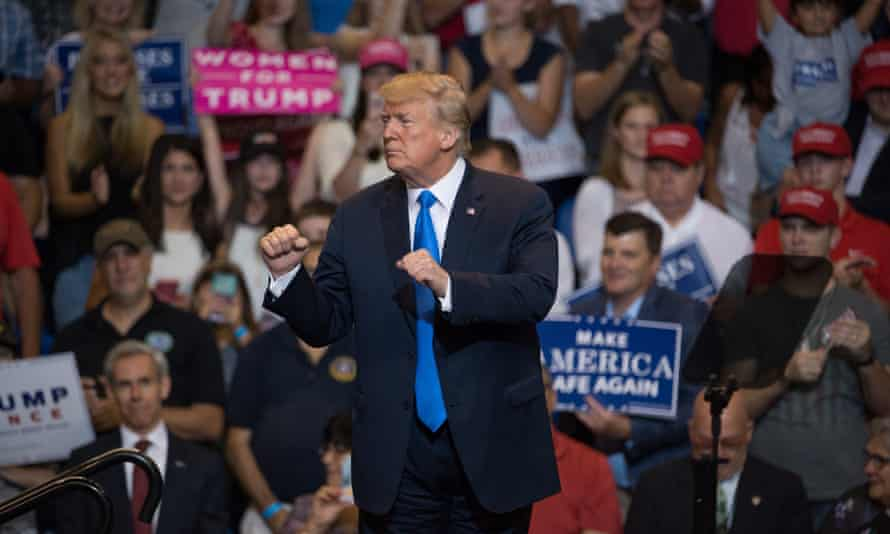 Donald Trump interacts at a rally at in Wilkes-Barre, Pennsylvania, USA on 2 August.