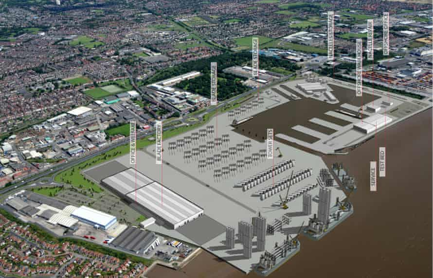 The offshore wind manufacturing and assembly facility at Alexandra Dock, Hull.