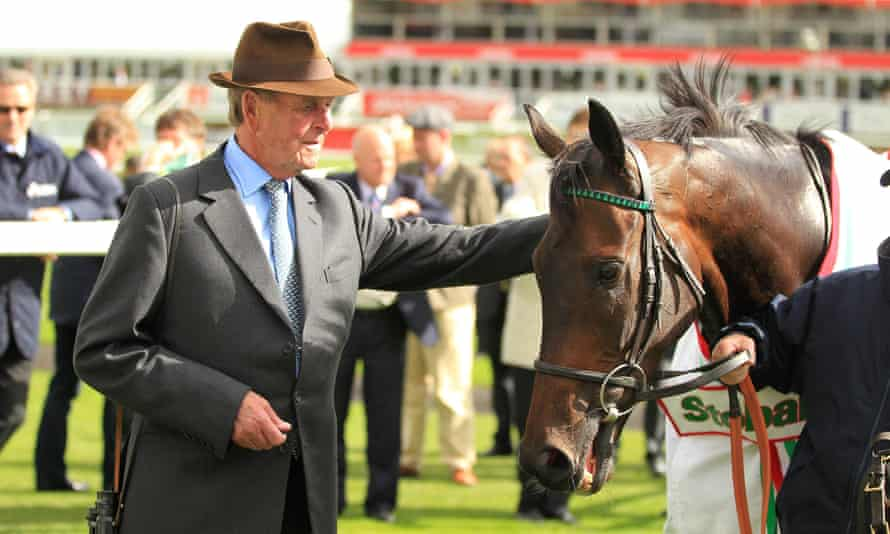 John Dunlop in 2012 with Times Up after winning the Stobart Doncaster Cup.