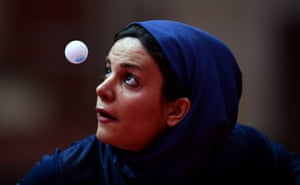 Iran's Neda Shahsavari prepares to serve against Turkey's Ozge Yilmaz during the quarter-final of the women's table tennis singles competition at the 4th Islamic Solidarity Games in Baku, Azerbaijan